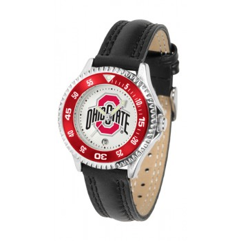 Ohio State University Buckeyes Ladies Watch - Competitor Poly/Leather Band
