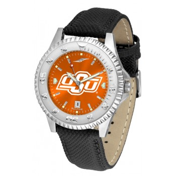 Oklahoma State University Cowboys Mens Watch - Competitor Anochrome Poly/Leather Band