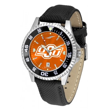 Oklahoma State University Cowboys Mens Watch - Competitor Anochrome Colored Bezel Poly/Leather Band