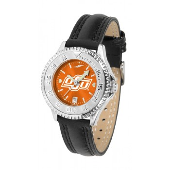 Oklahoma State University Cowboys Ladies Watch - Competitor Anochrome Poly/Leather Band