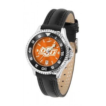 Oklahoma State University Cowboys Ladies Watch - Competitor Anochrome Colored Bezel Poly/Leather Band