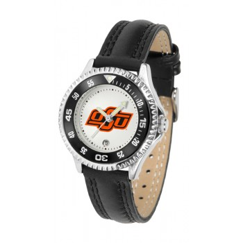 Oklahoma State University Cowboys Ladies Watch - Competitor Poly/Leather Band