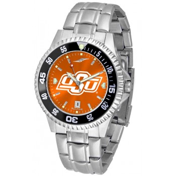 Oklahoma State University Cowboys Mens Watch - Competitor Anochrome - Colored Bezel - Steel Band
