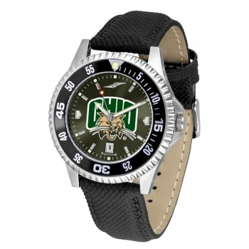 Ohio University Bobcats Mens Watch - Competitor Anochrome Colored Bezel Poly/Leather Band
