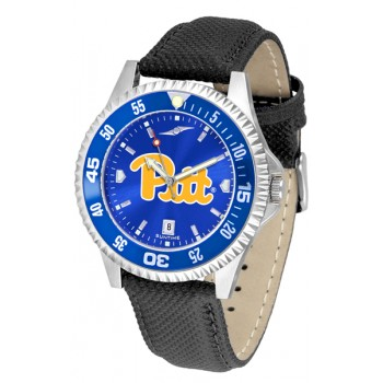 University Of Pittsurgh Panthers Mens Watch - Competitor Anochrome Colored Bezel Poly/Leather Band