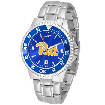 University Of Pittsurgh Panthers Mens Watch - Competitor Anochrome - Colored Bezel - Steel Band