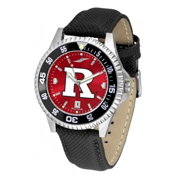 Rutgers Scarlett Knights Mens Watch - Competitor Anochrome Colored Bezel Poly/Leather Band