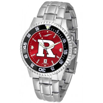 Rutgers Scarlett Knights Mens Watch - Competitor Anochrome - Colored Bezel - Steel Band