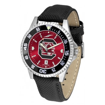University Of South Carolina Gamecocks Mens Watch - Competitor Anochrome Colored Bezel Poly/Leather Band