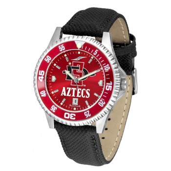 San Diego State University Aztecs Mens Watch - Competitor Anochrome Colored Bezel Poly/Leather Band