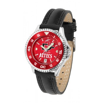 San Diego State University Aztecs Ladies Watch - Competitor Anochrome Colored Bezel Poly/Leather Band