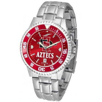 San Diego State University Aztecs Mens Watch - Competitor Anochrome - Colored Bezel - Steel Band