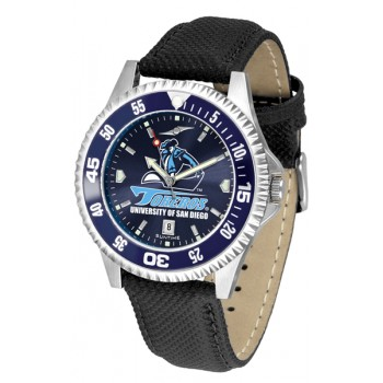 University Of San Diego Toreros Mens Watch - Competitor Anochrome Colored Bezel Poly/Leather Band