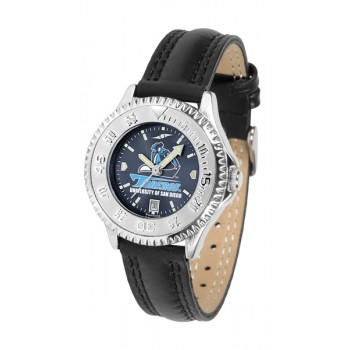 University Of San Diego Toreros Ladies Watch - Competitor Anochrome Poly/Leather Band