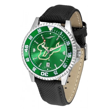 University Of South Florida Bulls Mens Watch - Competitor Anochrome Colored Bezel Poly/Leather Band