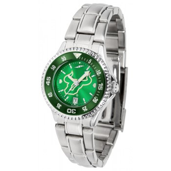 University Of South Florida Bulls Ladies Watch - Competitor Anochrome - Colored Bezel - Steel Band