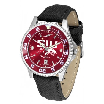 Southern Illinois University Salukis Mens Watch - Competitor Anochrome Colored Bezel Poly/Leather Band