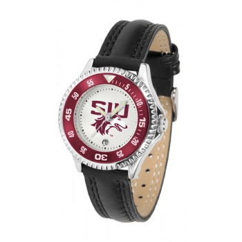 Southern Illinois University Salukis Ladies Watch - Competitor Poly/Leather Band