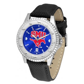Southern Methodist University Mustangs Mens Watch - Competitor Anochrome Poly/Leather Band