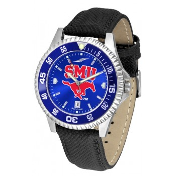 Southern Methodist University Mustangs Mens Watch - Competitor Anochrome Colored Bezel Poly/Leather Band