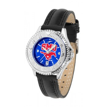 Southern Methodist University Mustangs Ladies Watch - Competitor Anochrome Poly/Leather Band