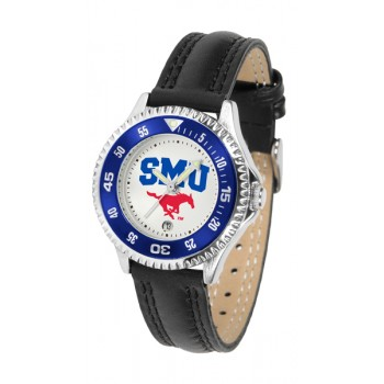 Southern Methodist University Mustangs Ladies Watch - Competitor Poly/Leather Band