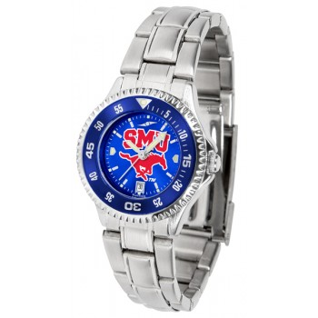 Southern Methodist University Mustangs Ladies Watch - Competitor Anochrome - Colored Bezel - Steel Band