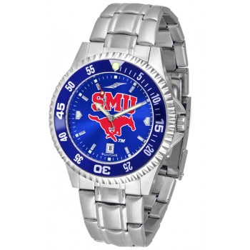 Southern Methodist University Mustangs Mens Watch - Competitor Anochrome - Colored Bezel - Steel Band