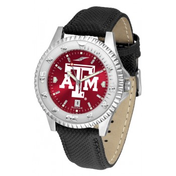 Texas A&M University Aggies Mens Watch - Competitor Anochrome Poly/Leather Band
