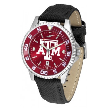 Texas A&M University Aggies Mens Watch - Competitor Anochrome Colored Bezel Poly/Leather Band