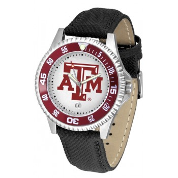 Texas A&M University Aggies Mens Watch - Competitor Poly/Leather Band