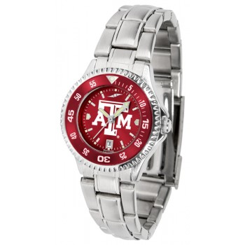 Texas A&M University Aggies Ladies Watch - Competitor Anochrome - Colored Bezel - Steel Band