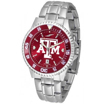 Texas A&M University Aggies Mens Watch - Competitor Anochrome - Colored Bezel - Steel Band