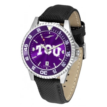 Texas Christian University Horned Frogs Mens Watch - Competitor Anochrome Colored Bezel Poly/Leather Band