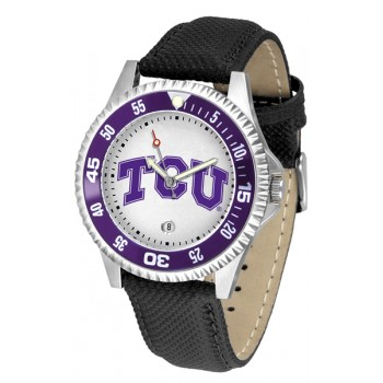 Texas Christian University Horned Frogs Mens Watch - Competitor Poly/Leather Band