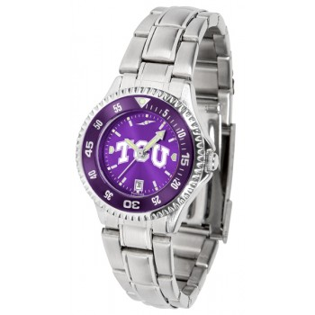 Texas Christian University Horned Frogs Ladies Watch - Competitor Anochrome - Colored Bezel - Steel Band