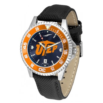 University Of Texas El Paso Mens Watch - Competitor Anochrome Colored Bezel Poly/Leather Band