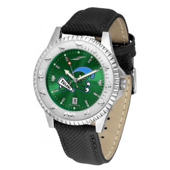 Tulane University Green Wave Mens Watch - Competitor Anochrome Poly/Leather Band