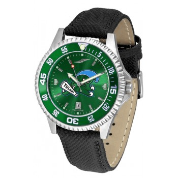 Tulane University Green Wave Mens Watch - Competitor Anochrome Colored Bezel Poly/Leather Band