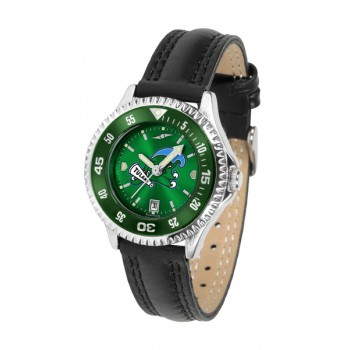 Tulane University Green Wave Ladies Watch - Competitor Anochrome Colored Bezel Poly/Leather Band