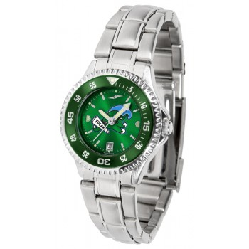 Tulane University Green Wave Ladies Watch - Competitor Anochrome - Colored Bezel - Steel Band