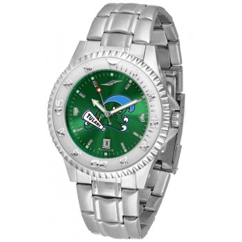 Tulane University Green Wave Mens Watch - Competitor Anochrome Steel Band