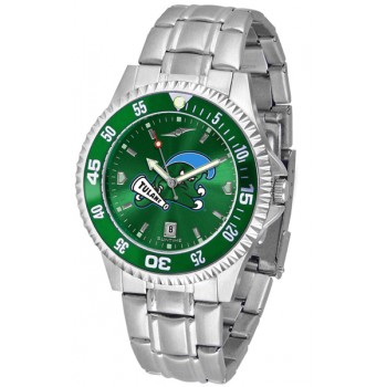 Tulane University Green Wave Mens Watch - Competitor Anochrome - Colored Bezel - Steel Band