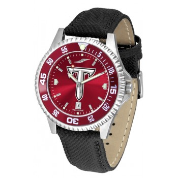 Troy University Trojans Mens Watch - Competitor Anochrome Colored Bezel Poly/Leather Band