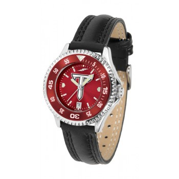 Troy University Trojans Ladies Watch - Competitor Anochrome Colored Bezel Poly/Leather Band