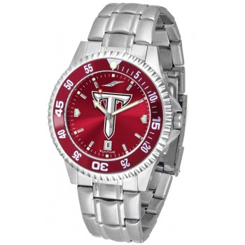 Troy University Trojans Mens Watch - Competitor Anochrome - Colored Bezel - Steel Band