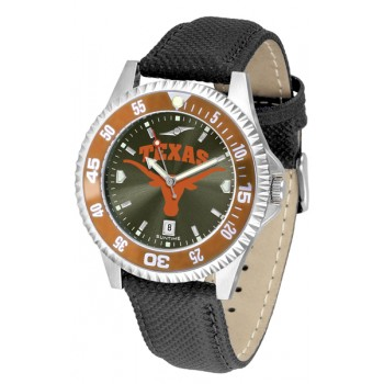 University Of Texas Longhorns Mens Watch - Competitor Anochrome Colored Bezel Poly/Leather Band