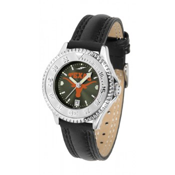 University Of Texas Longhorns Ladies Watch - Competitor Anochrome Poly/Leather Band