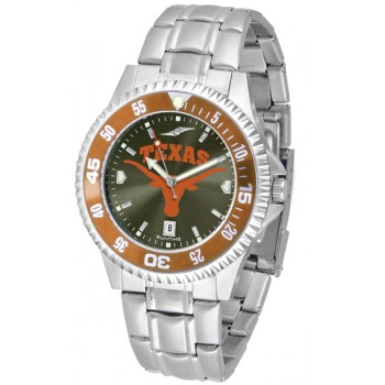 University Of Texas Longhorns Mens Watch - Competitor Anochrome - Colored Bezel - Steel Band