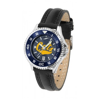 Montana State University Bobcats Ladies Watch - Competitor Anochrome Colored Bezel Poly/Leather Band